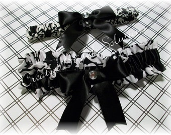 Black and White Damask Wedding Bridal Garter Set