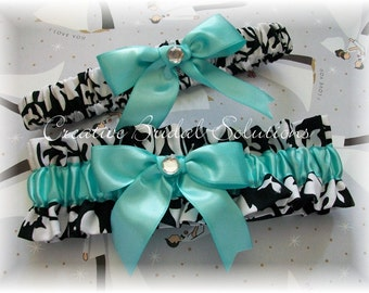 Black and White Damask with Aqua Blue Wedding Bridal Garter Set