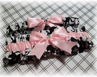 Black and White Damask with Light Pink Wedding Bridal Garter Set