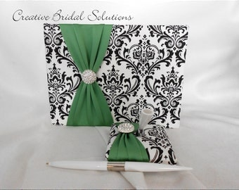 Black and White Madison Damask with Clover Wedding Guest Book and Pen Set