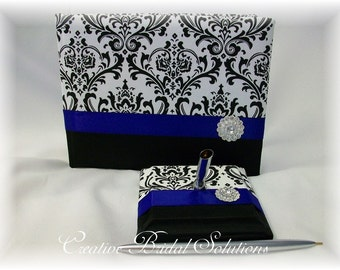 Black and White Madison Damask with Royal Blue Guest Book and Pen Set, Blue Guest Book, Black and White Guest Book, Madison Guest Book