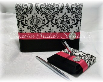 Black and White Madison Damask with Fuchsia Pink Wedding Guest Book & Pen Set, Madison Guest Book, Damask Guest Book, Fuchsia Guest Book
