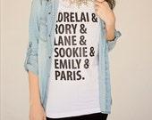 """Women's Graphic T-Shirt """"Girls of Gilmore"""" Shirt  Gilmore Girls Tee Shirt Lorelai Gilmore Rory tshirt Stars Hollow shirt gilmore fan gift"""