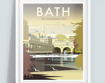 Bath, The Georgian City Travel Poster Print