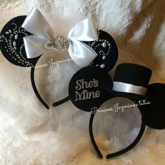 mickey and minnie mouse wedding theme ears by jazminestutus