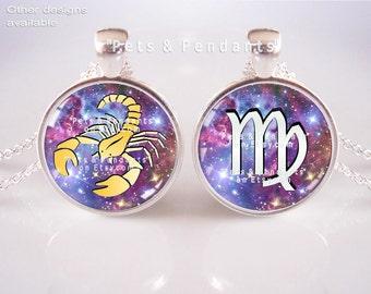 Zodiac Sign or Symbol Pendant with Chain, Zodiac Pendant Necklace