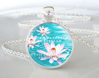 Lotus Picture Pendant, Flower Pendant Necklace