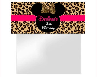 Minnie Mouse Birthday Treat Bag Toppers - Pink Cheetah / Leopard - Printable