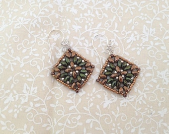 Fall Earrings-Metallic Bronze and Green with Silver