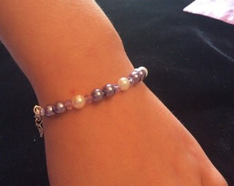 Lavender Pearls and Clear Crystal Child's Stretch Bracelet