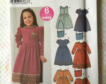Simplicity 5483 UNCUT New Girls Size A 3, 4, 5, 6, 7 & 8 Dress and Bag Pattern
