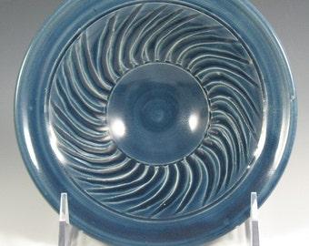 Small Blue Spiral Fluted Porcelain Bowl