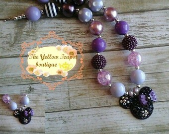 Purple Minnie inspired CHunky Necklace