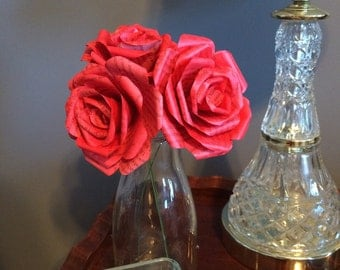 Book flowers story book paper red painted roses set of 3 stemmed flower for home decor center piece wedding parties