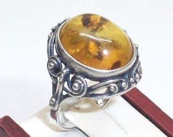 Antique amber ring 925 Silver ring SR159