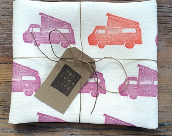 "100% Linen Volkswagen Colourful ""Westfalia"" Campervan Hand Printed Luxury Kitchen Tea Towel"