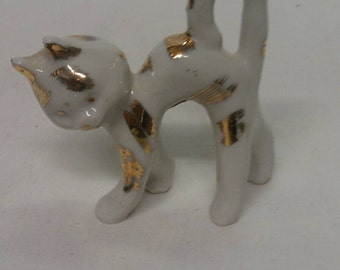 Cat Figurine White with Gold and Silver Spots