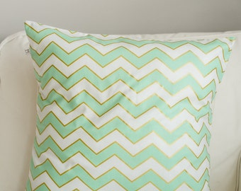 Michael Miller Mint Gold Chevron Pillow cover