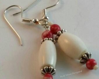 Dangle Earrings with Bone Beads