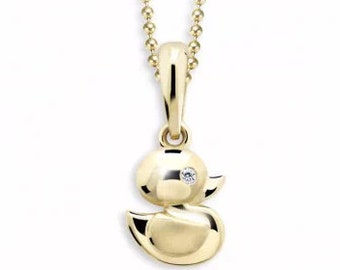 Cute kids duck Diamond Pendant
