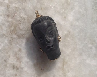 Corletto Blackamoor,18k Pendant,1960's Vintage Blackmoor Pendant, Carved Ebony Wood Pendant, Blackamoor Jewelry
