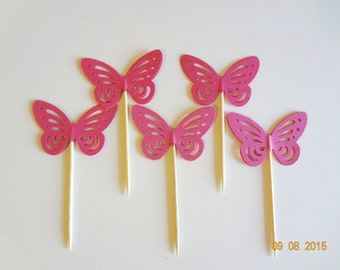 New Butterfly 12 cupcake topper Birthday gift favor lollipop girls confetti Party Pink