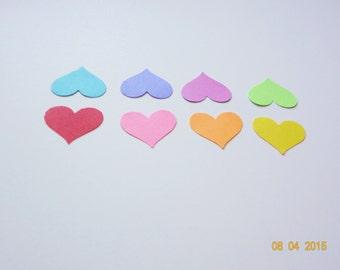 125 Heart rainbow confetti 7/8 Weddings Birthdays Baby Showers Decorations cardstock