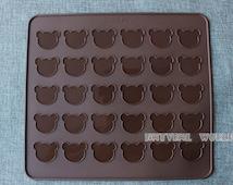 30 hole Bear Macaron Silicone Mat, 26*29cm Silicon Mat, Macaron Mat ,Christmas bakeware,Muffins Almond round cakes tools