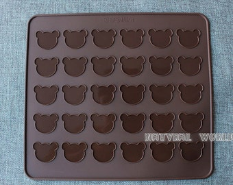 30 hole Bear Macaron Silicone Mat, 26*29cm Silicon Mat, Macaron Mat ,Christmas bakeware,Muffins Almond round cakes tools