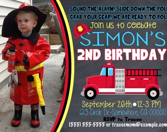 Firetruck Birthday Invitation with Picture