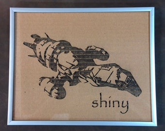 Firefly Ship in Laser-cut Cardboard - Framed