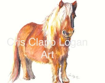 Shetland Pony Painting Horse Painting Shetland Pony Print Miniature Horse Print Fine Art Nursery Art Print