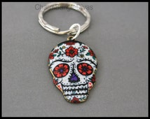 Large Red FLOWER Sugar SKULL Key Ring - Dia de los Muertos Skull Charm Pendant Key Chain - Instant Shipping - By Alex and Renee - USA - 569