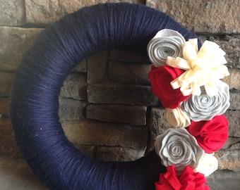 Navy yarn wreath