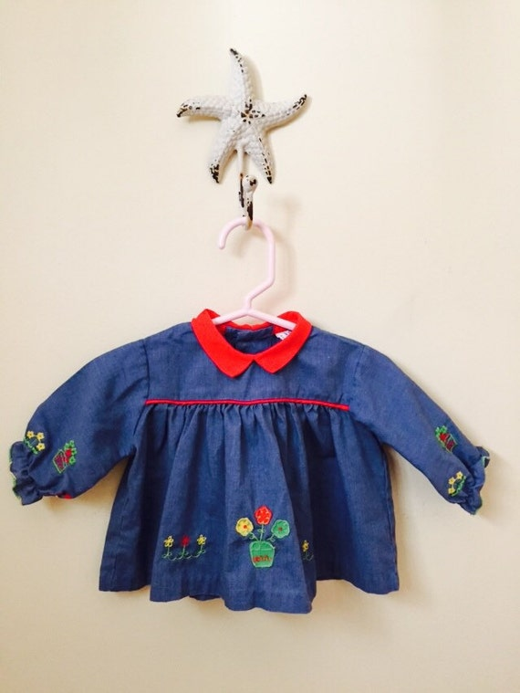 Vintage Baby Girl Clothes Adorable Long Sleeve Shirt 1950s