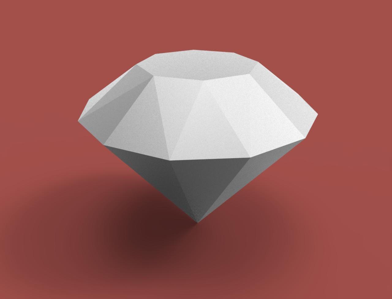 Diamond 3d Papercraft Model Download Pdf Template Diy