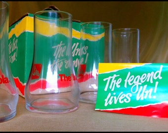 Set of 4 Upside Down 7-UP Glasses with Box...NOS....Retro Soda Collectibles!
