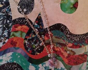 Reversible Swarovski Violet Heart Necklace/Swarovski Crystal Heart necklace