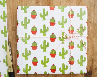 Cactus Wrapping Paper - Christmas wrapping paper - Birthday wrapping paper - gift wrapping paper - cactus pattern - cactus print - Gift Wrap