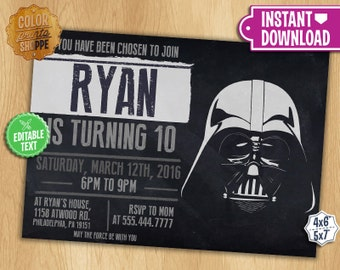 Star Wars Invitation - EDITABLE TEXT - Darth Vader Customizable Printable Birthday Party Invite Jedi Sith Knight Galaxy - Instant Download