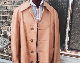 Mens leather, fisherman style coat