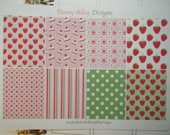 8 Strawberry Themed Weekly Full Box Planner Sticker