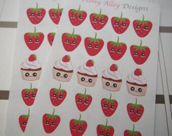 Kawaii Strawberry and Cupcake Stickers