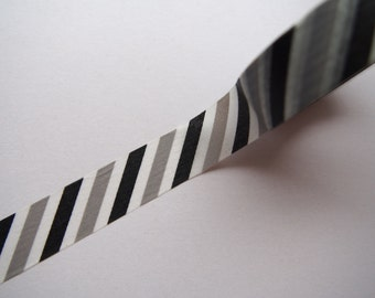 Black Gray and White Stripes washi tape