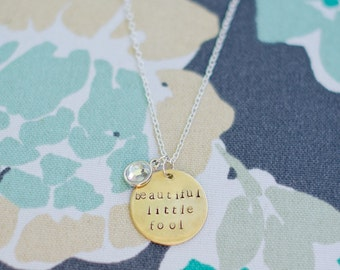 Great Gatsby inspired handstamped necklace
