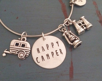 Happy Camper Handstamped Bangle Bracelet