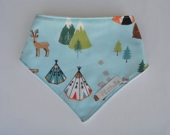 Blue woodland adjustable bandana bib