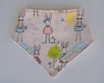Pink bunny adjustable bandana bib