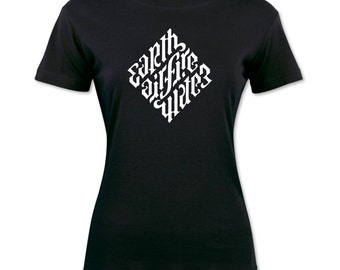 Earth, Air, Fire Water Ambigram T-shirt
