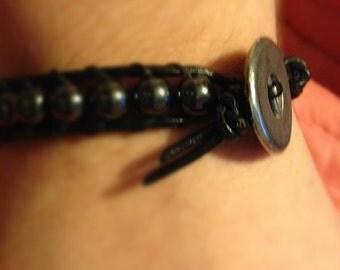Hematite Black Leather Bracelet with Steel Button **